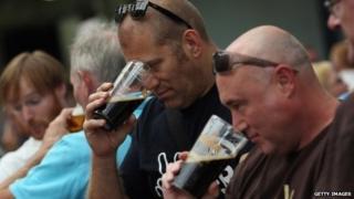 Drinkers at beer festival