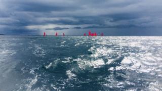 Red sails at sea
