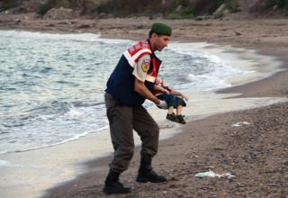 Турецкий спасатель с телом Алана Курди