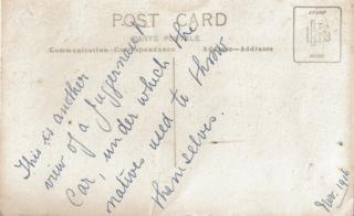 The back of a postcard that has a handwritten message saying: This is another view of a juggernaut car, under which natives used to throw themselves