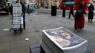 Copies of the Evening Standard in London