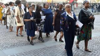 Guests arriving for the Windrush service at Westminster Abbey