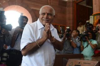 The Bharatiya Janata Party's BS Yeddyurappa arrives at parliament in New Delhi on 20 May 2014.