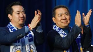Wamiliki wa klabu ya Leicester City nchini Uingereza Vichai Srivaddhanaprabha na mwanawe Aiyawatt