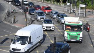 Traffic builds up during rush hour on the North Circular Road in London