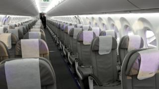 An interior view of the cabin of a Bombardier CSeries CS100 aircraft during showcase at Riga International Airport, Latvia