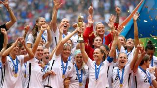 The US women's team lift the world cup trophy in 2015