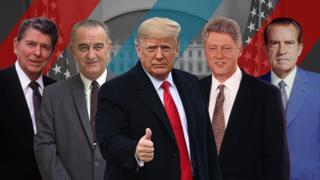 Composite image of Ronald Reagan, Lyndon B Johnson, Donald Trump, Bill Clinton, and Richard Nixon