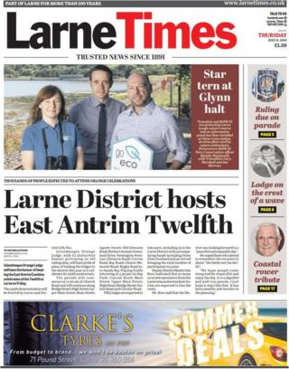 Front page of the Larne Times