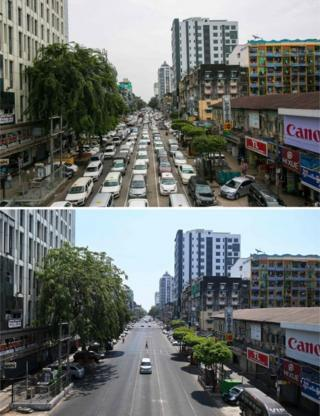 in_pictures Traffic in central Yangon on 19 September, 2019 (top) and a car travelling along the same road on 12 April, 2020
