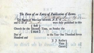 Marriage register entry written by Jane Austen