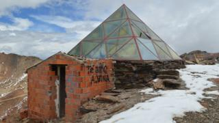 View of an abandoned building at the Chacaltaya ski resort in Bolivia