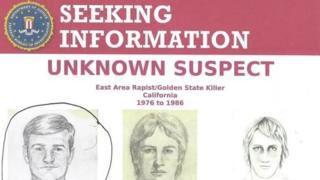 A police reward poster shows photofit pictures of the suspect