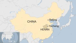 A map showing Yucheng county in China's Henan province