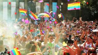 Celebration in Sydney after the gay marriage referendum