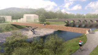 Proposed new footbridge over the River Usk at Abergavenny