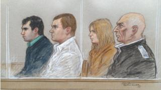 Court sketch of defendants (left to right) - Harry Shilling, Michael Defraine, Jennifer Arthy and John Smale