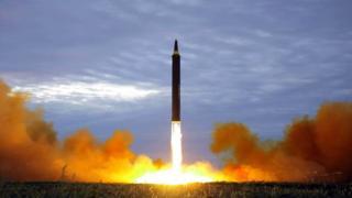 Старт северокорейской баллистической ракеты