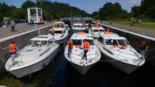 Rush hour at Dochgarroch Lock near Inverness. Taken by Donald Mackinnon