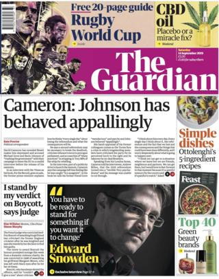 The front page of the Guardian on 14 September 2019