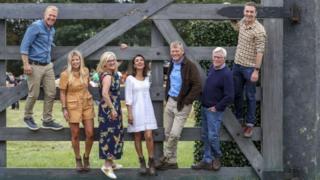 BBC Countryfile presenters (left to right) Adam Henson, Ellie Harrison, Charlotte Smith, Anita Rani, Tom Heap, John Craven and Joe Crowley