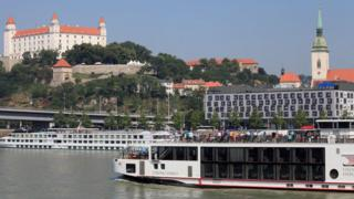 Image shows a sightseeing ship in Bratislava