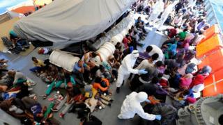 The migrants were taken on board the LÉ Róisín and offered food, water and medical treatment