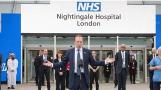 Health Secretary, Matt Hancock at the opening of the NHS Nightingale Hospital at the ExCel centre in London, a temporary hospital with 4000 beds which has been set up for the treatment of Covid-19 patients.