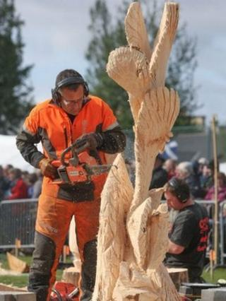 Peter Bowsher, winner of the Scottish Open Chainsaw Carving Championships