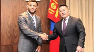 سعید ملایی و باتلوگا خالتما، رئیس جمهور و رئیس فدراسیون جودو مغولستان
