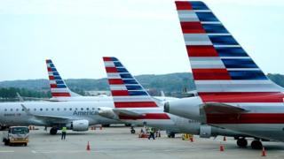 American airlines jets in Washington in April 2020