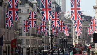 British flags hanging above a street