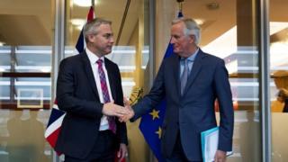 Brexit Secretary Stephen Barclay shakes hands with the EU's chief negotiator Michel Barnier