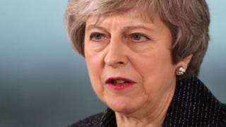 British Prime Minister Theresa May makes a speech