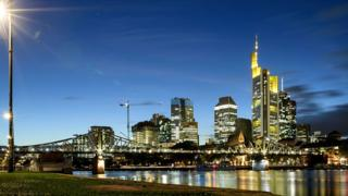 A general view of the skyline of Frankfurt and the financial district with the corporate headquarters of Commerzbank in the background