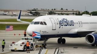 JetBlue Flight 386 departs for Cuba on August 31, 2016 from Fort Lauderdale, Florida.