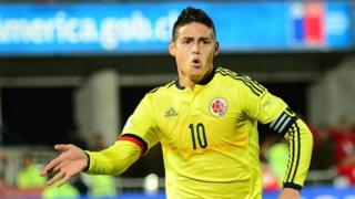James Rodriguez celebrates after scoring against Chile during their Russia 2018 FIFA World Cup South American Qualifiers football match, in Santiago, on November 12, 2015
