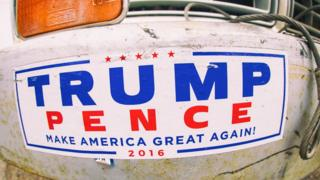 Bumper sticker reading: TRUMP, PENCE, Make America Great Again