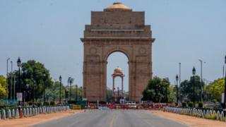 A deserted view of an empty historic India Gate, as nationwide lockdown continues over the highly contagious coronavirus (COVID-19) on March 30, 2020 in New Delhi, India.