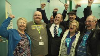James Grundy (centre) with supporters