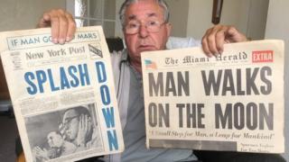 John Blackburn with some of his memorabilia from the Apollo 11 launch