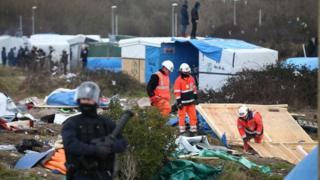Huts are dismantled on the Jungle camp. 29 Feb 2016