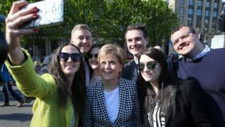 Nicola Sturgeon in selfie with the SNP's new council group in George Square, Glasgow