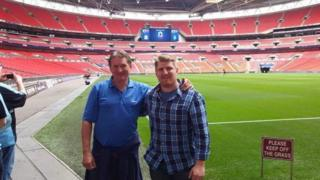 Mark Bird with son Luke at the 2015 play-off final