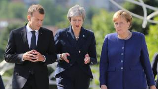 Emmanuel Macron, Theresa May and Angela Merkel