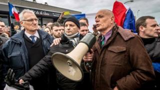 Former French General Christian Piquemal (with loudspeaker) at Calais rally. Photo: 6 February 2016