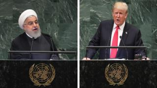 دونالد ترامپ، رئیس جمهوری آمریکا و حسن روحانی، رئیس جمهوری ایران در مجمع عمومی سازمان ملل متحد