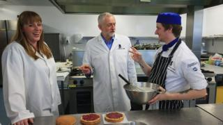Jeremy Corbyn and Angela Rayner during a visit to a catering college in Leeds