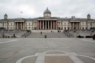 A deserted Trafalgar Square in London