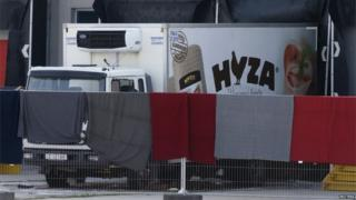 The lorry discovered with 71 bodies in Austria